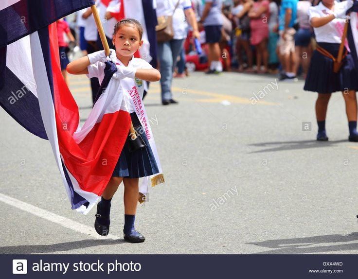 Image from the Independence Day Parade 2016 in Quepos, Costa Rica. Stock Photo