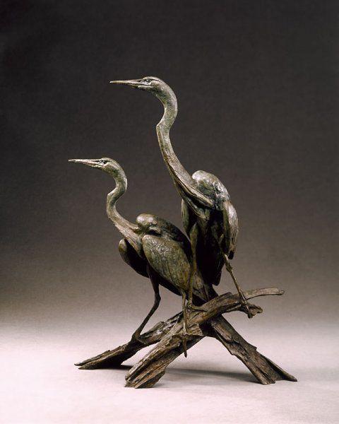 Common Egret Pair _ Bronze sculpture by Walter Matia