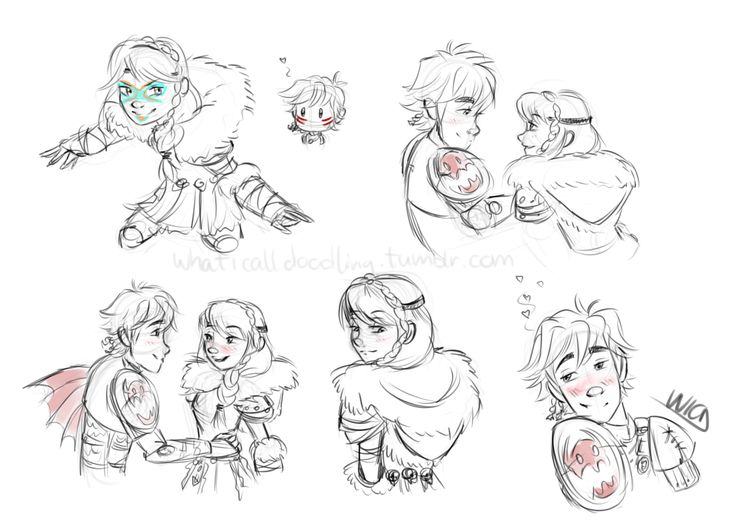"""whaticalldoodling: """" More httyd scribbles just to make sure my hand does remember how to doodle them """" < Hiccstrid. :)"""