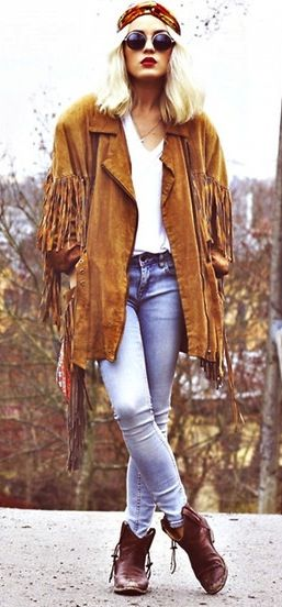 This was THE fringed suede coat to wear in my hippie days/ I had a suede coat this same color with a suede belt and 4 patch pockets. Loved it!  ljb