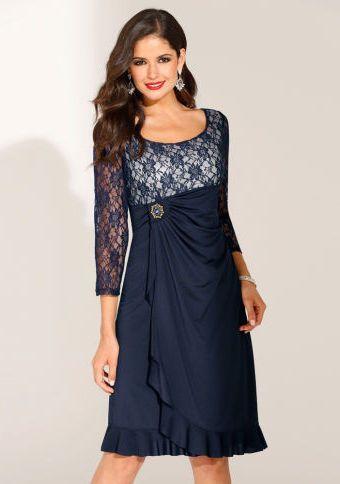 Slavnostní šaty se 3/4 rukávy #ModinoCZ #formal #elegance #dress #blue #saty #slavnostni #formalni #moda