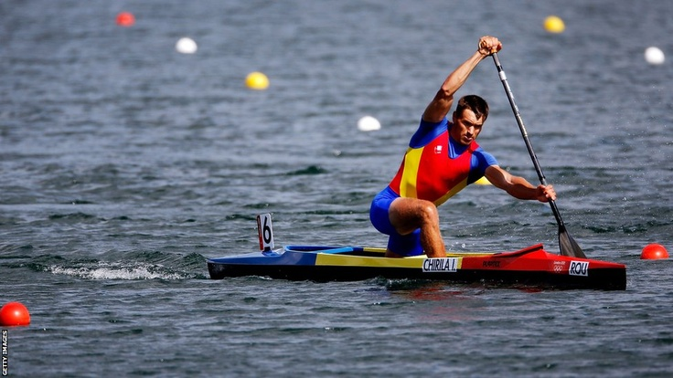 Romania's Iosif Chirila takes part in the men's canoe single 1000m sprint heats at Eton Dorney and qualifies for the semi-finals