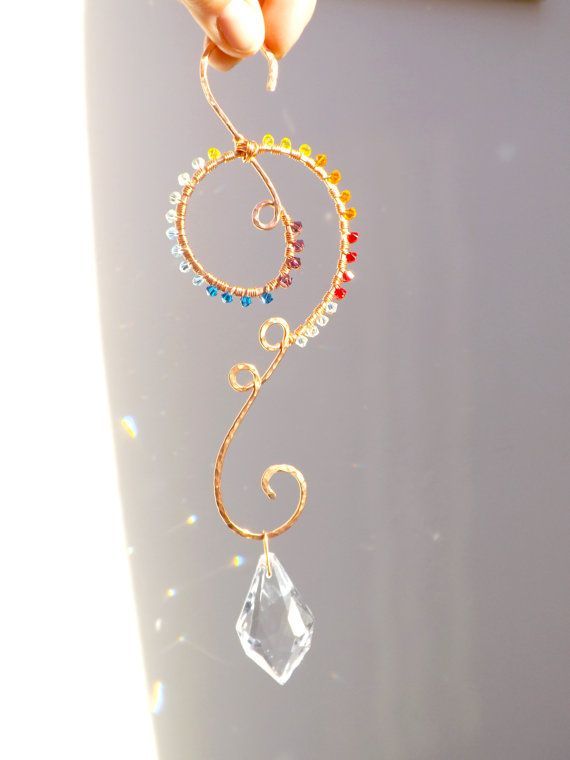 Crystal Suncatcher, Pure Copper, Wire Wrapped Suncatcher Swirl, Wire Wrapped, Natural Earthy Suncatcher, Rainbow Swirl Suncatcher