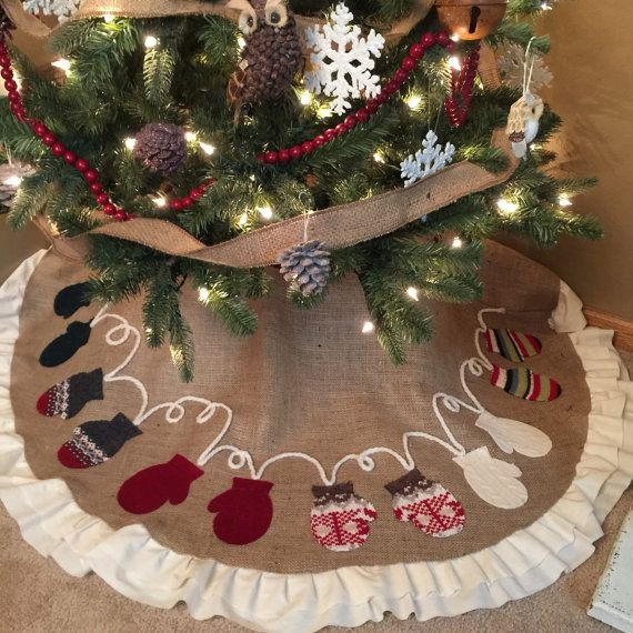 Mitten Christmas tree skirt, christmas, ruffles, mittens, holidays, handmade, Christmas tree, rustic tree skirt, shabby chic