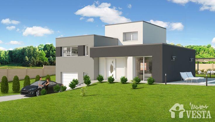 Mod le c me maison construire de type contemporain demi niveau par maisons vesta maisons for Maison demi niveau toit plat