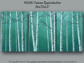 Huge super-sized canvas art prints for your teal green home or office decor. Original painting by Denise Cunniff - ArtFromDenise.com View this listing at https://www.etsy.com/listing/189087337/huge-canvas-art-teal-wall-art-large
