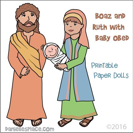 Boaz And Ruth Holding Baby Obed Paper Dolls Or Stick