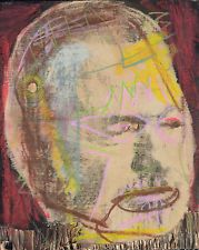 Outsider Art Brut Abstract Cubist Punk Painting on Wood Author Ernest Hemingway by Angus Carter
