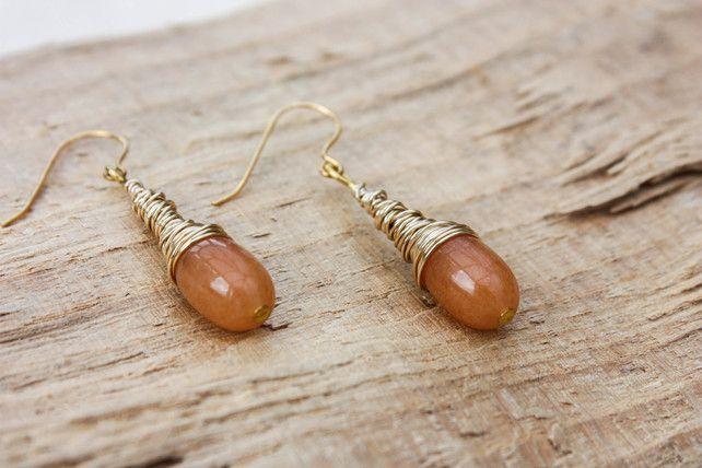 Carnelian Wire Coil Drop Earring £14.00