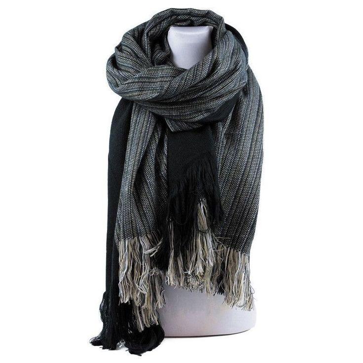 Soft Oversized Black & Gray Scarf Wrap Frilled Edges