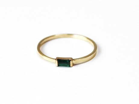 Emerald Baguette Stacking Ring 14K yellow gold by ...