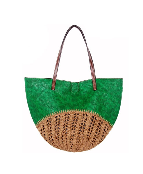 Color Block Woven Tote Bag