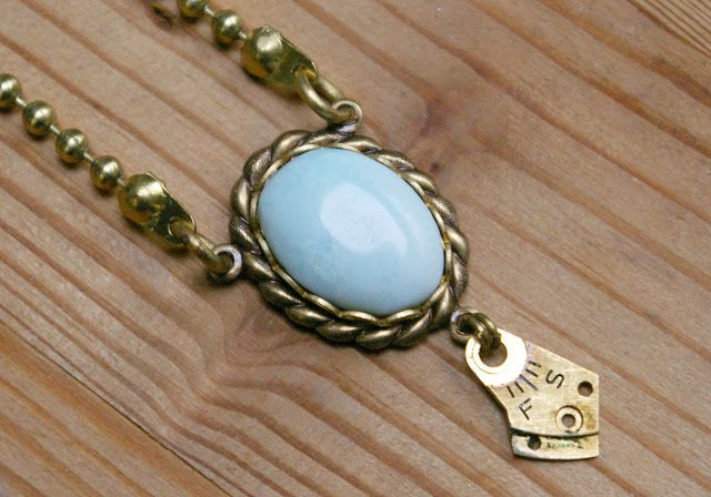 Sleepless Storyteller: Dominican Larimar and Upcycled Brass Hardware