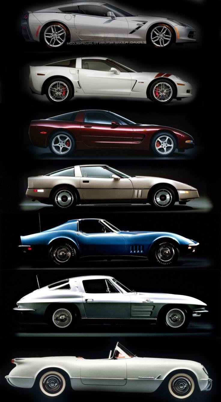 Corvette Timeline C1 C2 C3 C4 C5 C6 C7 Cars Pinterest