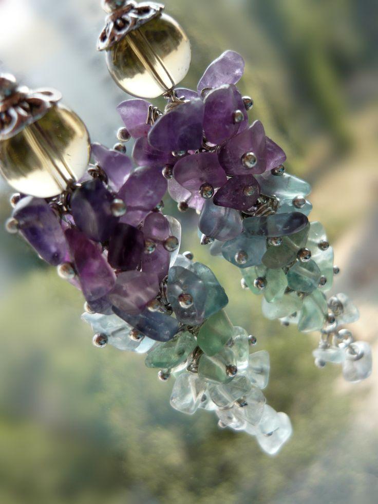 Cluster earrings multicolor stone earrings green purple blue fluorite earrings long earrings stone chips jewelry women gift for her gift mom - pinned by pin4etsy.com