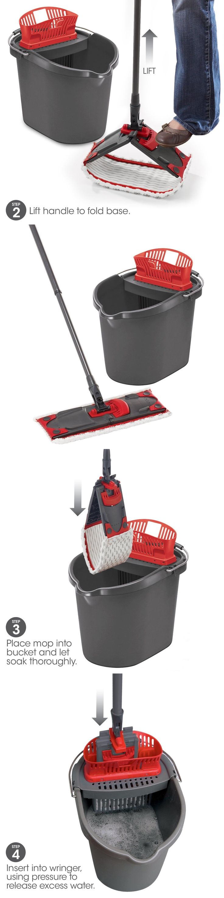 Mops and Brooms 20607: Flat Mop Microfiber Bucket Floor Cloth Snaps Cleaning Under Cabinets Dirt Grime -> BUY IT NOW ONLY: $44.17 on eBay!
