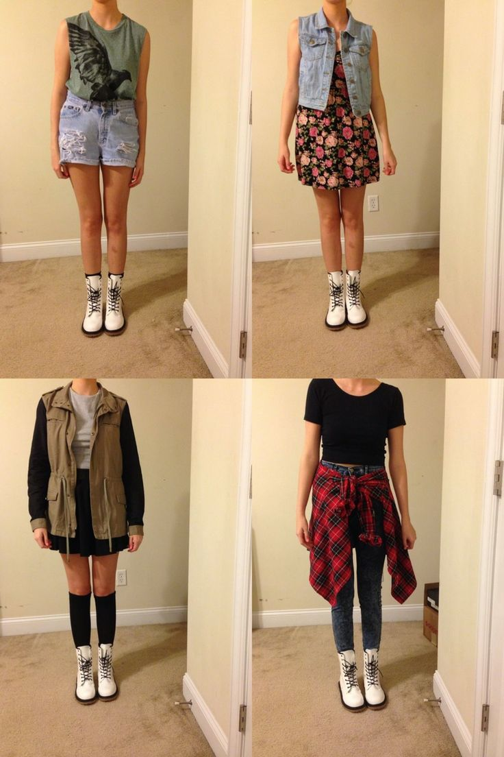 4 outfits to go with white Doc Martens