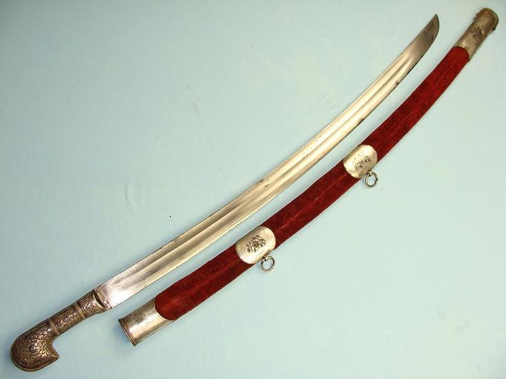 A lovely hallmarked Dagestan Shashka, dated circa 1900-1910. This is a very attractive Dagestan Shashka with hallmarked silver hilt and suspension rings and signature to the back of the scabbard throat. Overall in the scabbard this lovely sword measures 105cms, out it is just over 95cms with an 80cm blade.