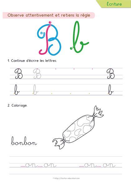 이 배우기 -에 - 쓰기 - 더 - 필기체 문자-B