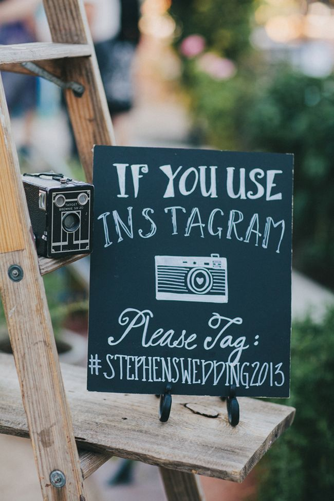 Instagram your rustic wedding with a custom wedding hashtag and a cute chalkboard sign to reminder everyone