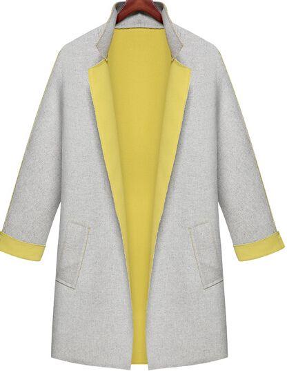 Grey Contrast Yellow Collar Loose Pockets Coat 35.00