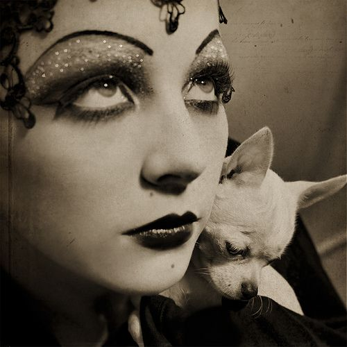 Flapper Girl with Chihuahua. #glitter #dog #makeup