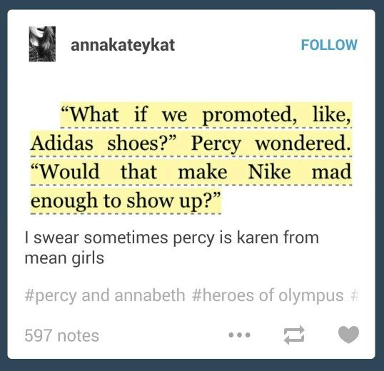 Who knows, Percy. Maybe she would. Maybe Addias would appear instead. Like Addias could be Nike's Roman form! << nah but that would be funny