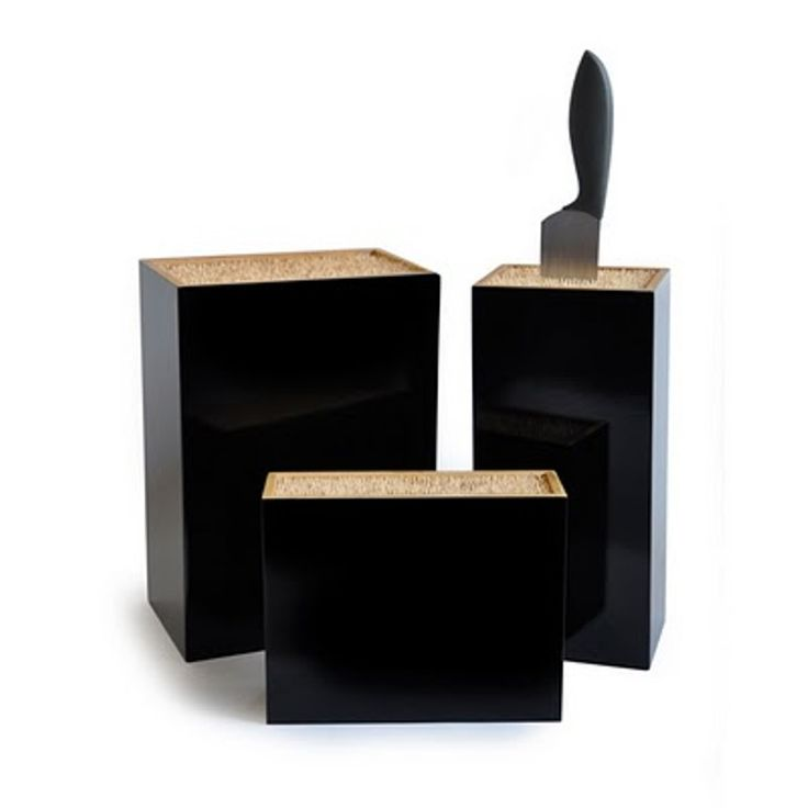 Kitchen, Breathtaking Contemporary Bamboo Knife Block Ideas With Black Colour And Simple Design Also Beam Shape: Awesome And Innovative Knife Holders For The Contemporary Kitchen