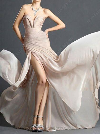 Sheath/Column Sweetheart Chiffon Sweep Train Ruffles Prom Dresses 2014 -USD$158.69