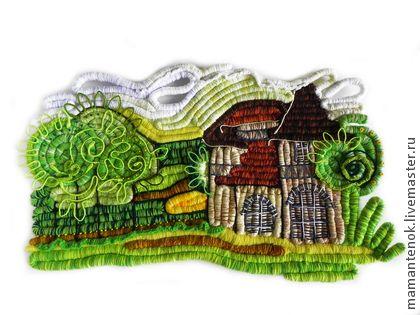 Пейзаж, декоративное панно - зелёный,пейзаж,панно с пейзажем,работа для интерьера