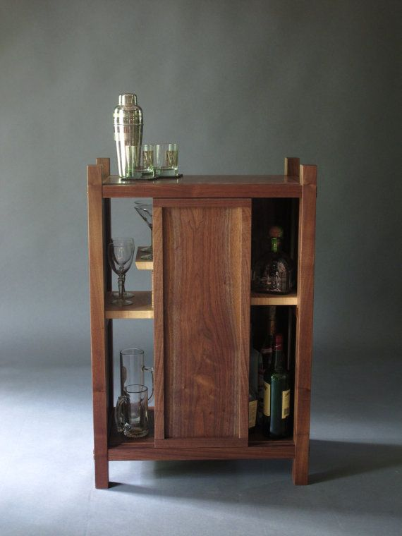 Walnut Bar Cabinet Dry Bar Liquor Cabinet Mid by MokuzaiFurniture
