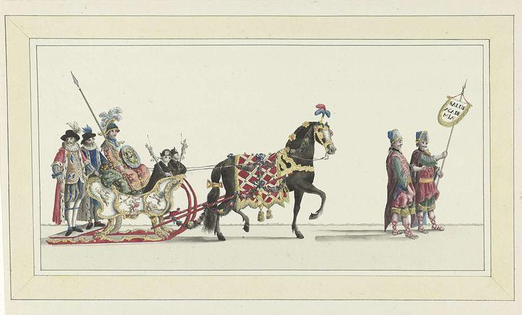 Abraham Delfos | Zevende slede, Abraham Delfos, 1776 | De zevende slede in de optocht. Een slede met Minerva getrokken door een paard en voorafgegaan door twee personen in Griekse kleding. Onderdeel van de reeks van vijftien tekeningen voor de platen van de sledevaart op 24 januari 1776 georganiseerd door het Leidse genootschap Veniam Pro Laude bij gelegenheid van het Tweede Eeuwfeest van het Leids Ontzet (3 oktober 1574) en de oprichting van de Universiteit van Leiden (8 februari 1575).