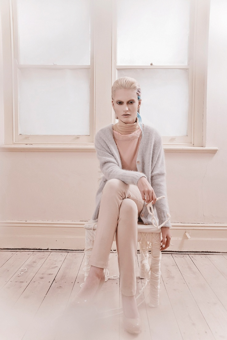 SHADES OF PALE fashion shoot. As seen in the Adelaide* magazine July issue 2012. Photo: Diana Melfi, Styling: Kate Bowden, Model: Chloe Sargeant. (Chiffon T-shirts in Blush and Tan, turtleneck top, all American Apparell. 'Cosy' cardigan, Gorman. Camilla and Marc 'Heartbreaker' pants, Whistles, Heels from Zara, wool-wrapped glasses).