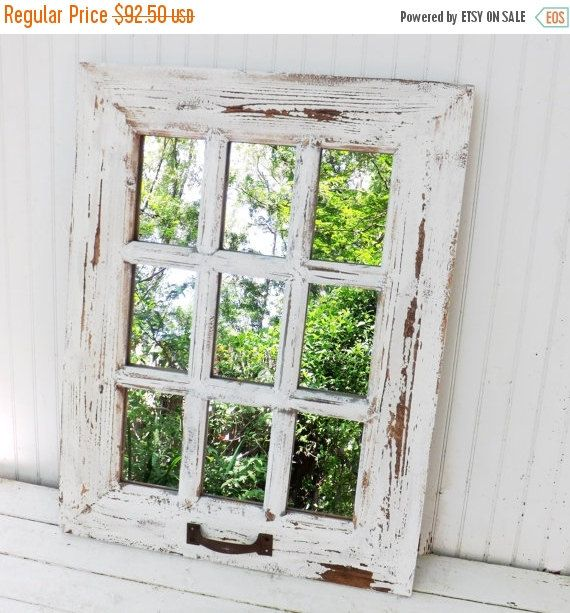 ON SALE Rustic Farmhouse Window Mirror / Window Pane Mirror / Shabby Chic Mirror / Large Wall Mirror / Vintage Style