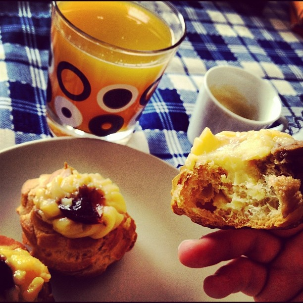 Day One: Monday Breakfast. #coffee #Nespesso #Zeppole #OrangeJuice