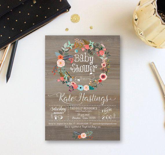 Vintage Wood Baby Shower Invitation, Floral wreath Baby Shower Invite, Baby Girl Summer Shower Invitation, Free Back, Custom WR