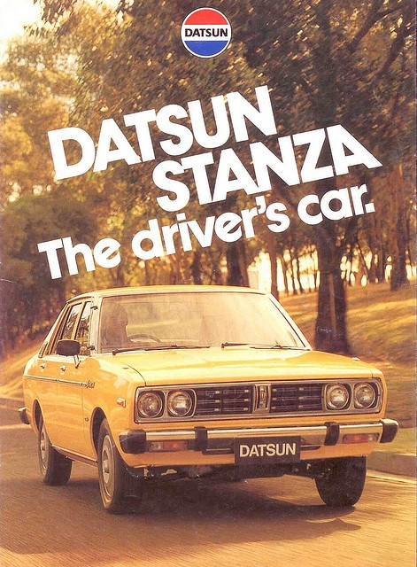 DATSUN STANZA.....my first car!!! And I still own her :) 1978 model (I was 2 years old when she was made) and still have the original log books. Can't wait to do some hill climbing in her.