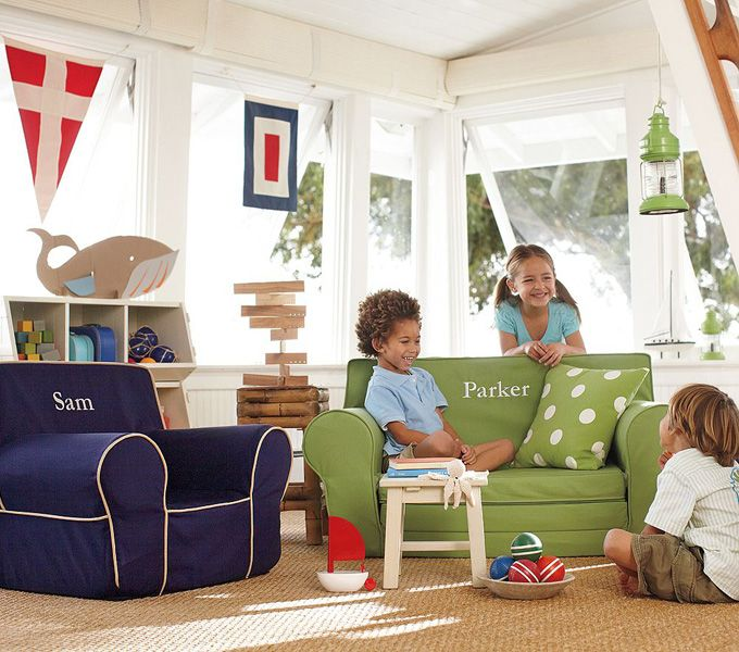 Anywhere Chair® Insert U0026 Slipcover Set, Navy With Stone Piping