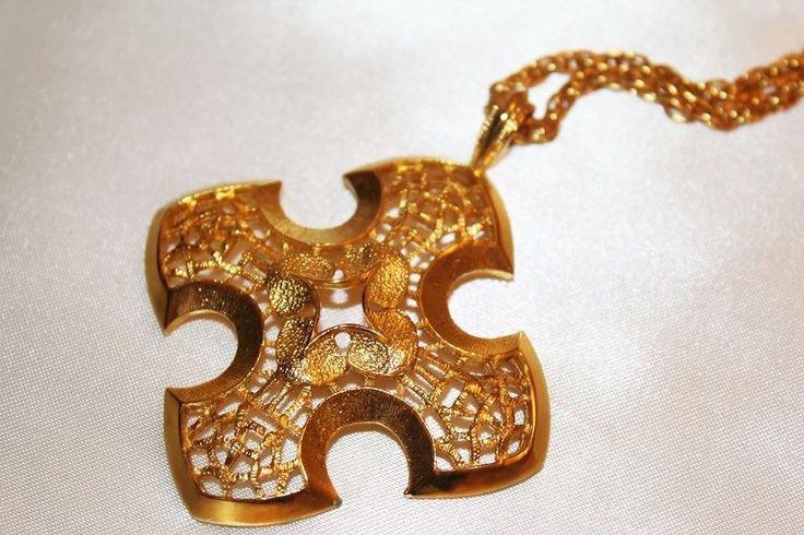 Lovely Vintage Designer Textured Large Maltese Cross Pendant Necklace NC | eBay
