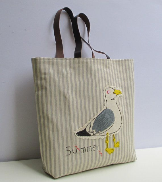 Canvas tote bag with seagullorganic natural colorsummer by Apopsis