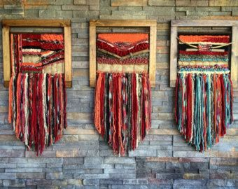 MADE TO ORDER. Handmade woven wall hanging. Made in Chile with wool, burlap, wood and driftwood from Lago Puyehue. Measures 17x31,4 inches. It takes me three weeks to do it and three more weeks to arrive to you.