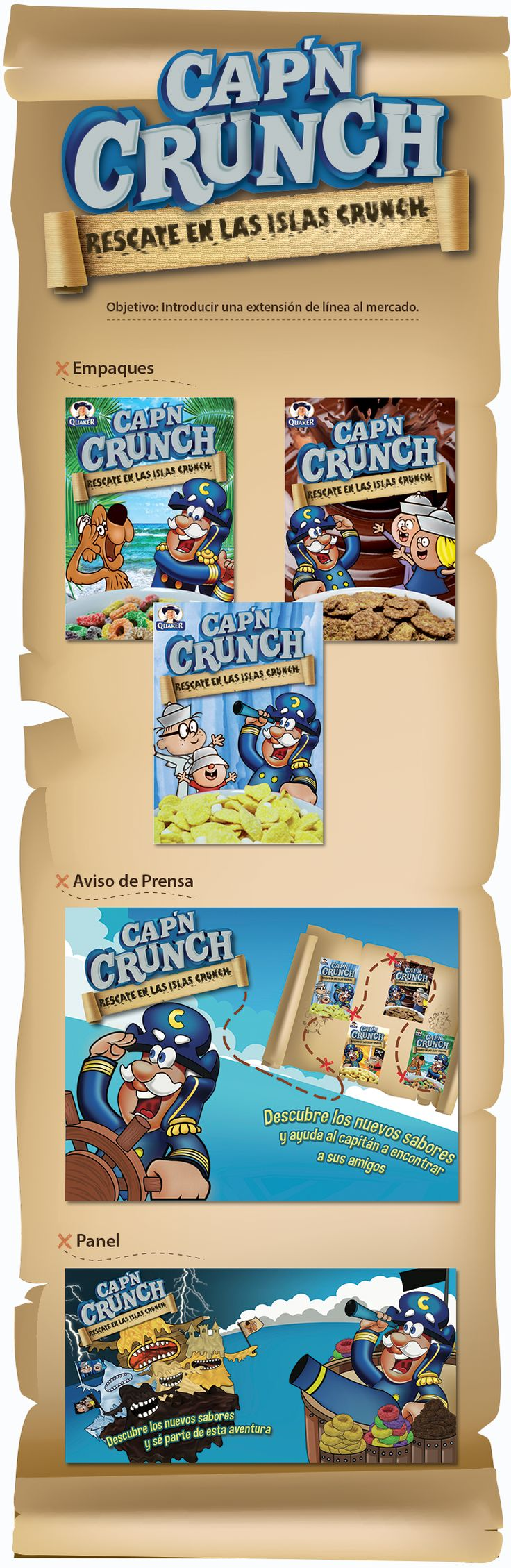 Actualmente la marca de cereales CAP'N CRUNCH sólo distribuye una presentación clásica en el mercado peruano. Mediante esta campaña se propone lanzar una extensión de línea con nuevos sabores, utilizando una historia en la cual el capitán rescata a sus compañeros de los 80's.