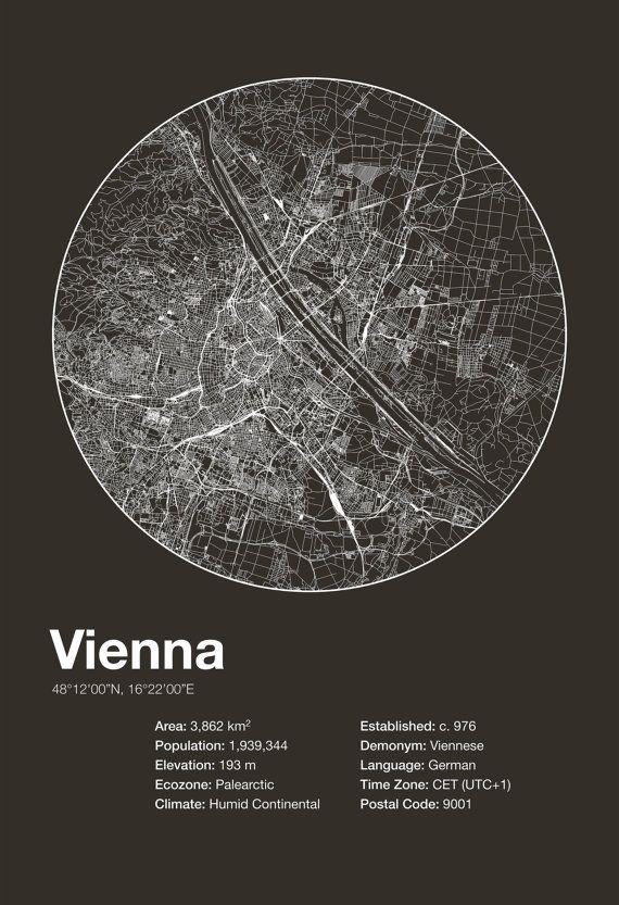 Street Map Art City Print Vienna Austria by EncoreDesignStudios