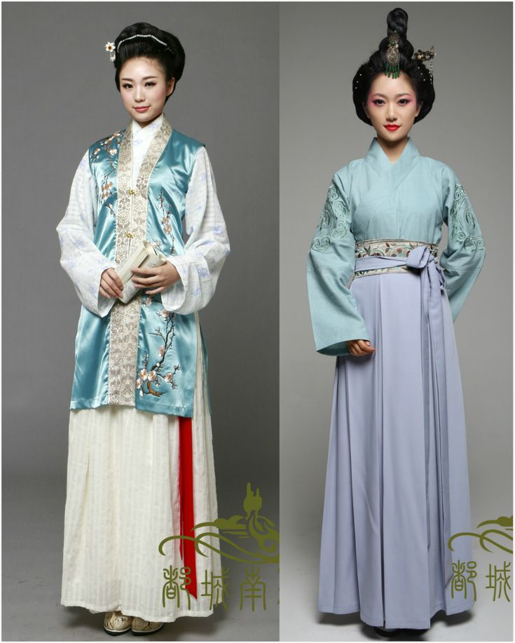 Traditional Chinese clothes, hanfu, in various types.