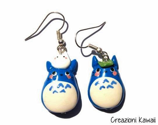 Totoro Earrings Polymer Clay / Orecchini di CreazioniKawaiiShop