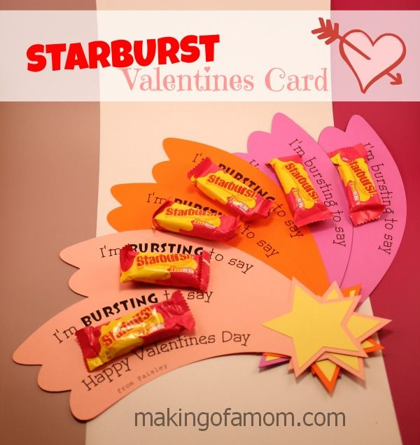 Starburst Candy homemade Valentines Day Card includes free printable and Silhouette cut file.