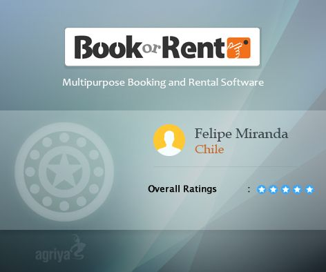 """Another 5 star review for BookorRent   A word from Felipe Miranda about Agriya's #Booking and #Rentalsoftware  """"Good they work fine""""  For more BookorRent reviews: http://customers.agriya.com/products/bookorrent/reviews"""