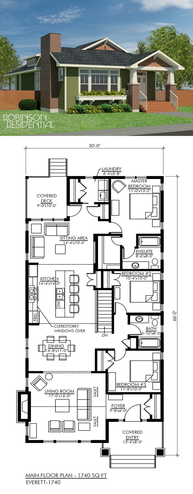 The Craftsman Everett-1740 is a 1-storey house featuring:  Authentic craftsman styled exterior Covered front porch Vaulted ceiling in living room Bright kitchen with raised ceiling and clerestory windows Private master suite with ensuite and walk-in closet Main floor laundry 3 bedrooms, 2 baths