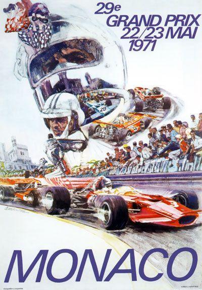 AV97 Vintage 1971 29th Monaco Grand Prix Motor Racing Poster Re-print A3