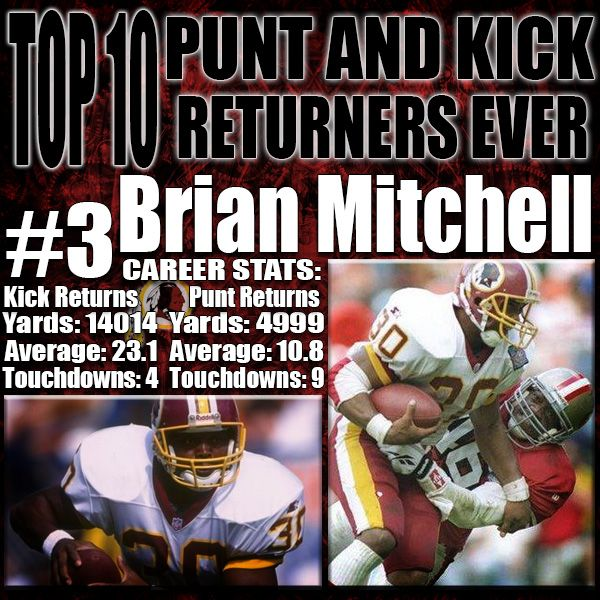 Brian Mitchell was just a man trying to make a living in the NFL. While returners were predominantly guys who would run 50 yards to gain 10, Brian Mitchell was a stocky player who looked for a whole and went full blast through it. He is the #2 all-time leader for all purpose yards in a career which is just shy of the greatest WR in NFL history Jerry Rice, and in front of arguably the best RB ever, Walter Payton…
